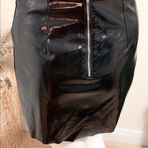 Black H&M patent leather skirt